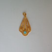 Silver Gilt Pendant Tear Shape with Turquoise Inset