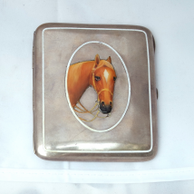 Sterling Silver Cigarette Case with Enamel Horse Head