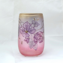 Iridescent Glass Vase with Flower Stem and Insects Motives